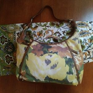 Tignanello Hobo Shoulder Bag Print Green Cotton